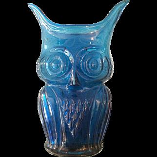 Blenko Blue Glass Owl