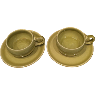 Pair of 1930's Russel Wright Chartreuse American Modern Demitasse Cup and Saucer