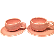 Pair of 1930's Russel Wright Coral American Modern Demitasse Cup and Saucer
