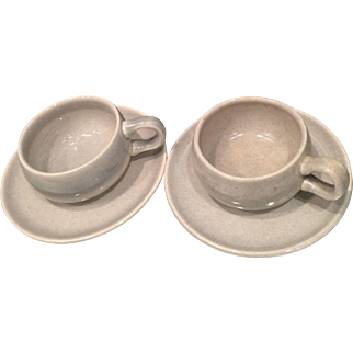 Pair of 1930's Russel Wright Granite Gray American Modern Demitasse Cup and Saucer