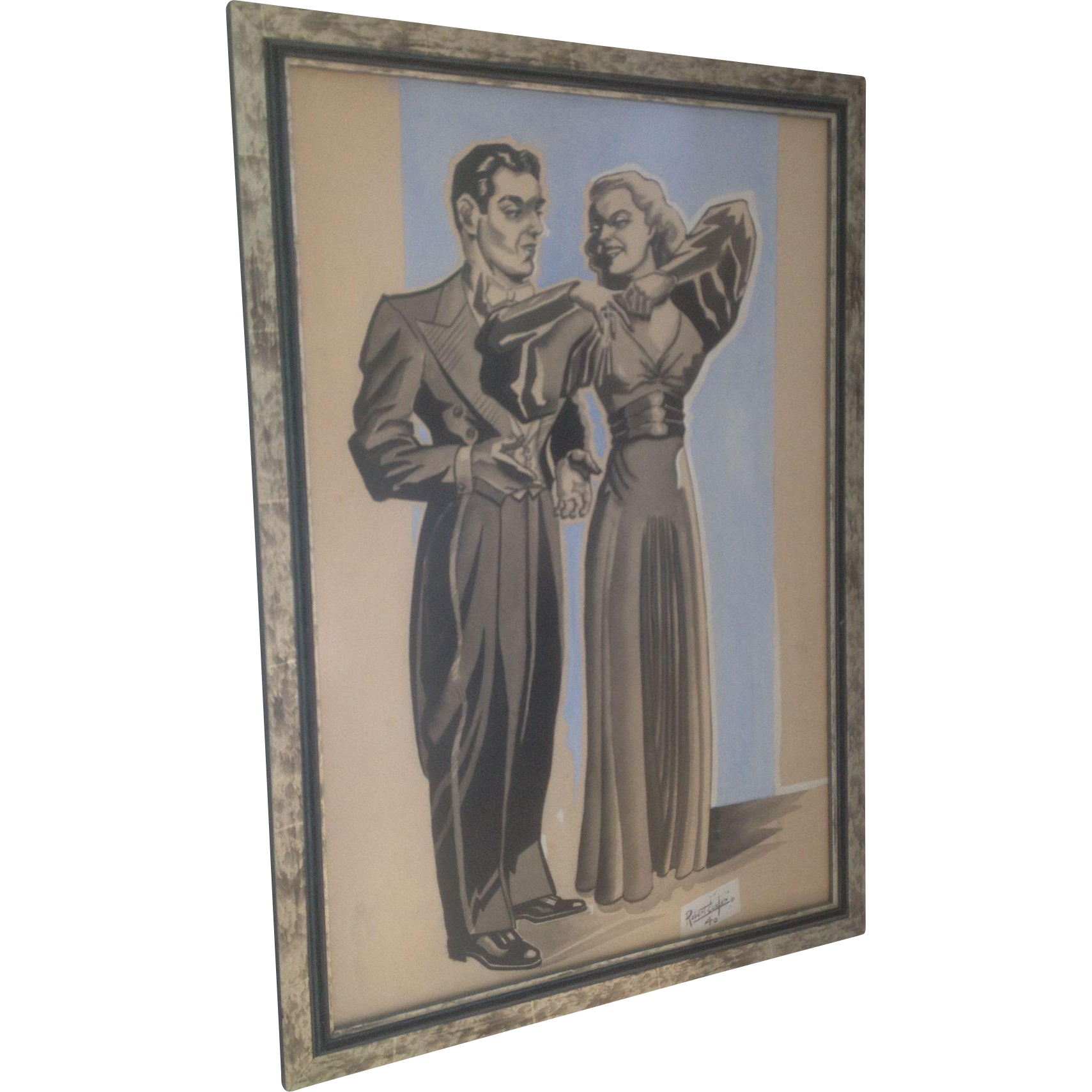 1930/1940's Dancing Couple Water Color