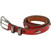 Vintage Chasen Sterling Silver Mounted Red Leather Belt