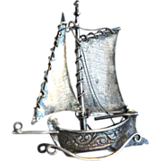 Antique Dutch Miniature Silver Sailing Ship Hallmarked