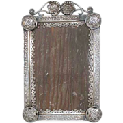 Small Antique Indo-Portuguese Silver Mounted Frame