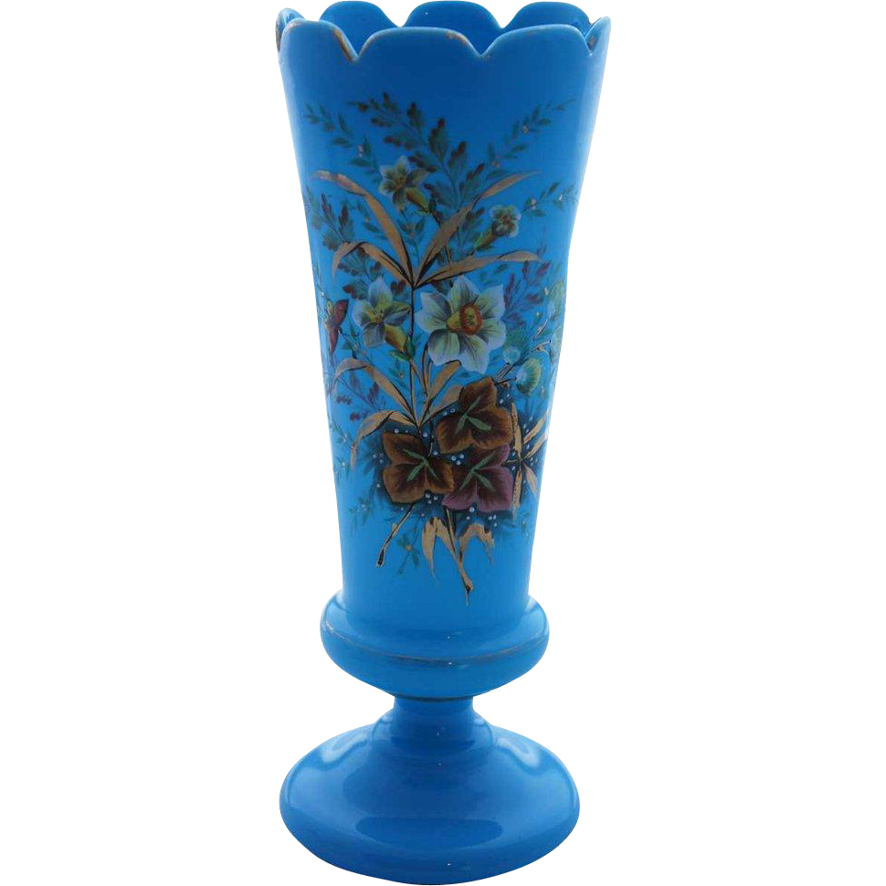 English Bristol Victorian Hand Painted Turquoise Blue Glass Vase
