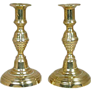 Pair of English Victorian Inverted Beehive Brass Candlesticks