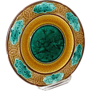 French Sarreguemines Majolica Pottery Plate