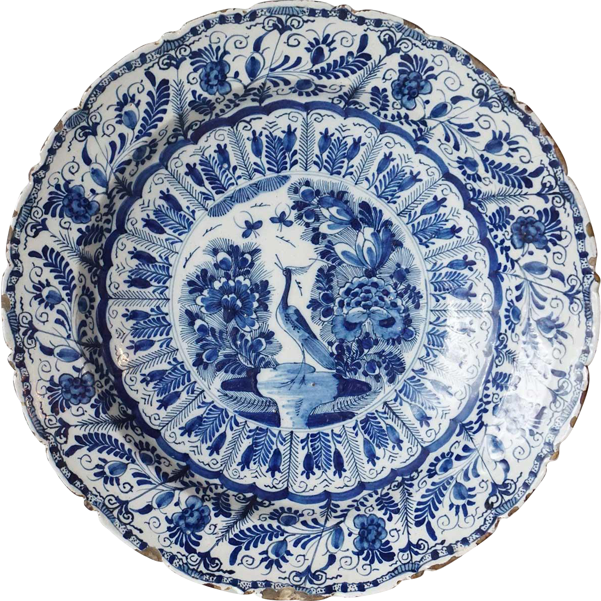 Early Dutch Delft De Klauw Blue and White Pottery Charger