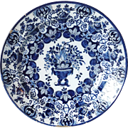 Signed Dutch Delft Blue and White Urn and Flowers Pottery Charger