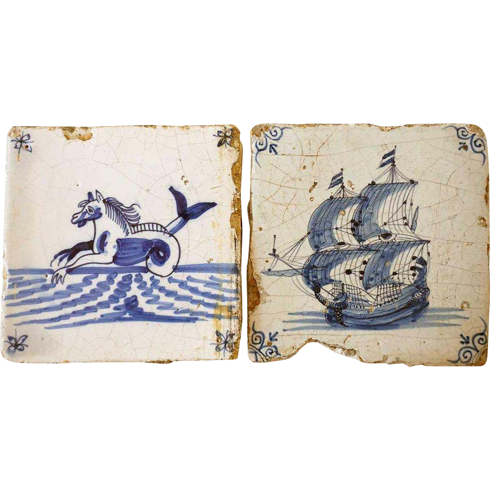 2 Dutch Delft Blue and White Pottery Tiles