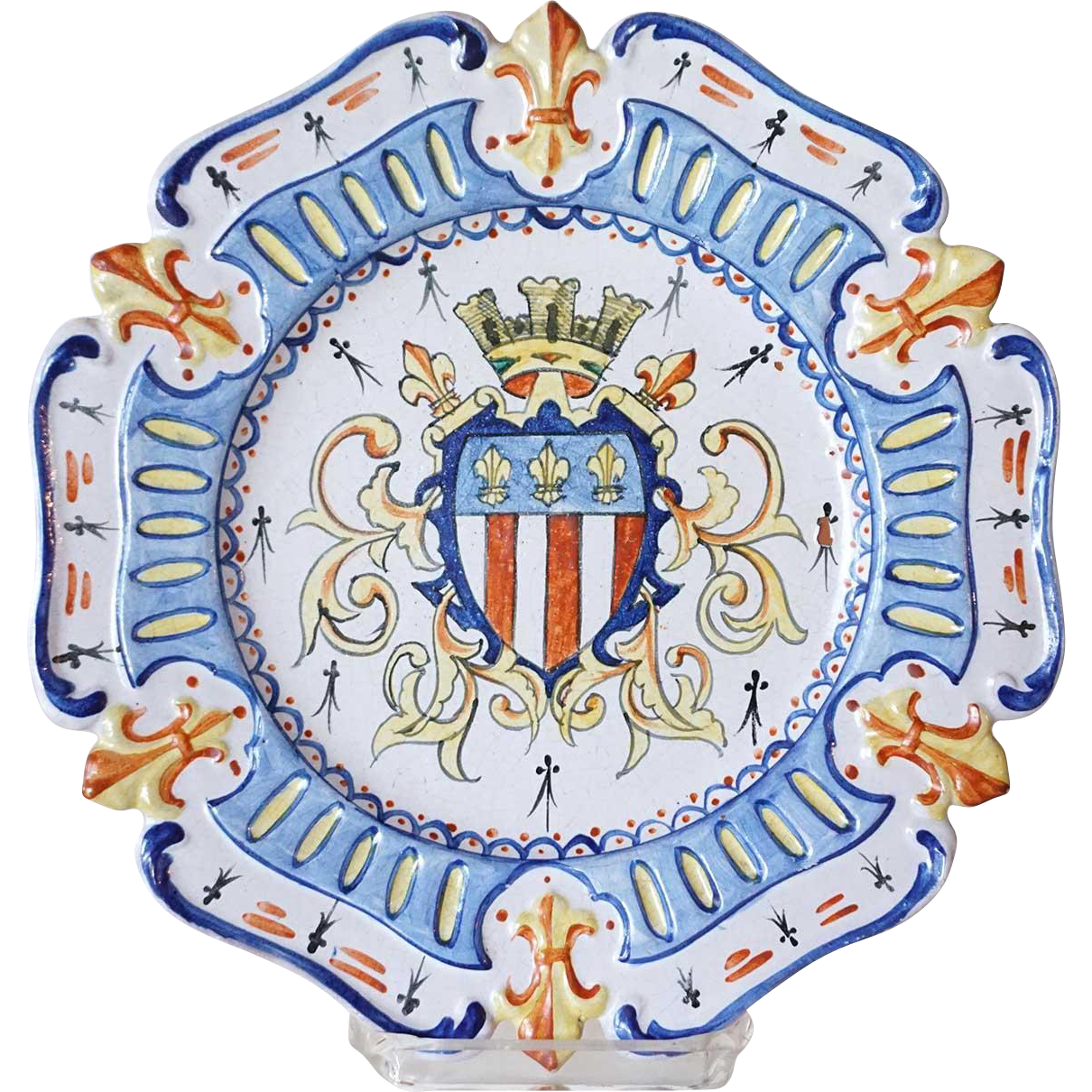 French Faience Pottery Hand Painted Armorial Plate