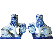 Pair of Dutch Delft 18th century Style Blue and White Models of Armorial Lions