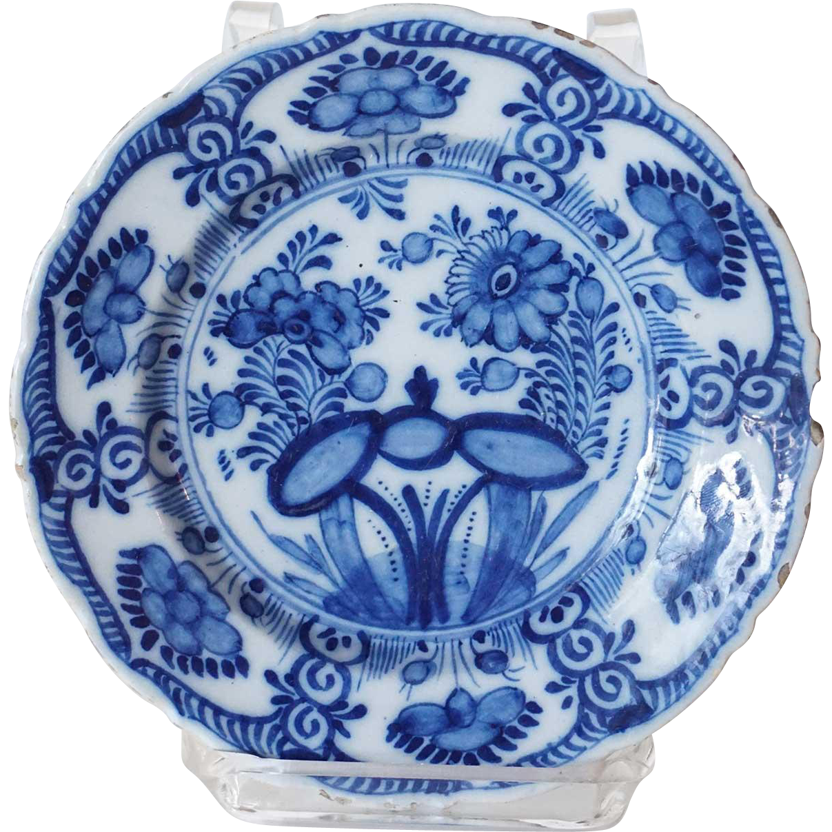 Small Dutch Delft De Klauw Blue and White Pottery Floral Plate