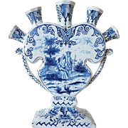 Dutch Delft 18th century Style Blue and White Pottery Tulip Vase (Tulipiere)