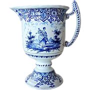 Signed Dutch Delft Blue and White Pottery Pitcher
