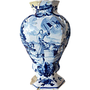 Dutch Pieter van Marksveld Delft Blue and White Pottery Vase, Abraham and Isaac