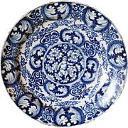 Dutch Delft Blue and White Pottery Angel Plate