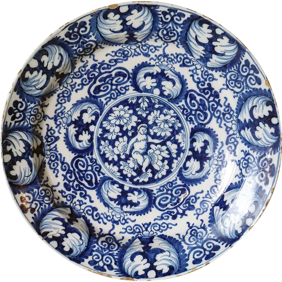 Dutch Delft Blue And White Pottery Angel Plate From