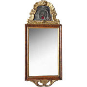Scandinavian Rococo Parcel Gilt Walnut and Eglomise Mirror