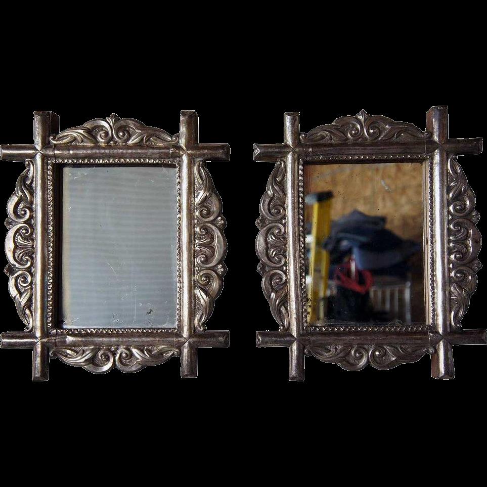 Rare Pair of Indo-Portuguese Silver Mirror Frames