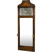 Danish Inlaid Mahogany Pier Mirror with Brass Sconces