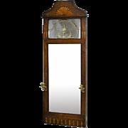 Danish Inlaid Mahogany Pier Mirror with Brass Sconces