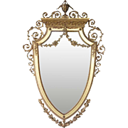 English Neoclassical Gilt and Gesso Shield Shape Mirror