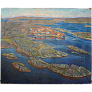 AAGE ROOSE Oil on Canvas Painting, Village on the Fjord