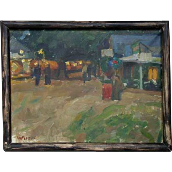 WILHELM WILS Oil on Canvas Painting, Dyrehaven Amusement Park Scene