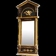 Swedish Karl Johan Parcel Gilt and Ebonized Pine Wall Mirror