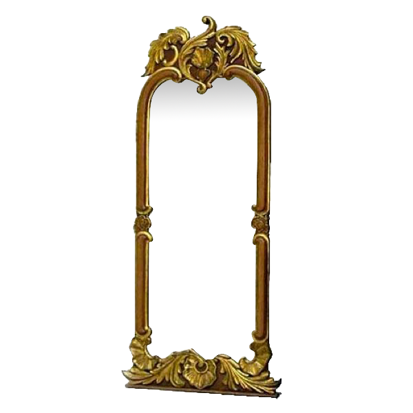 Large Scandinavian Rococo Style Parcel Gilt Pine and Oak Wall Mirror