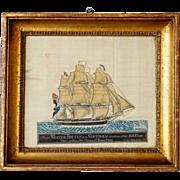 Scandinavian School Gouache Painting on Paper on Silk of a Ship