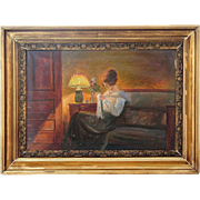 AGE JESSEN Oil on Canvas Painting, Interior Scene, Woman by Lamp Light