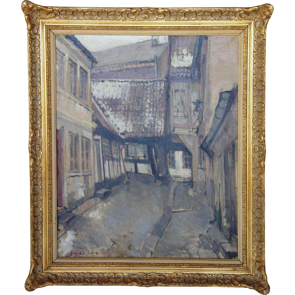 DMITRI GODYCKI-CWIRKO Oil on Canvas Painting of a Village Street