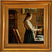 SOPHUS VERMEHREN Oil on Canvas Painting, Portrait of a Young Girl at the Window