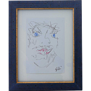 Signed Vintage Sketch Drawing, Portrait of a Male Face