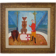 VICENTE CLAVO GIL Oil on Canvas Board Painting, Circus Act with Bears