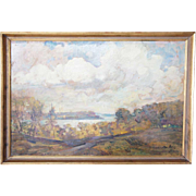 AXEL PETER Oil on Panel Painting, Fjord Landscape