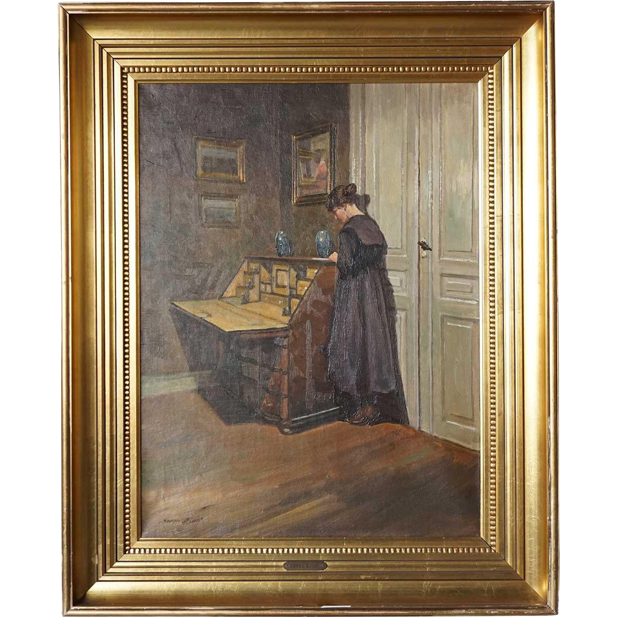 SOREN CHRISTIAN BJULF Oil on Canvas Painting, Interior with a Woman at her Bureau
