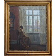 AAGE LUND Oil on Canvas Painting, Interior Scene with a Lady Reading