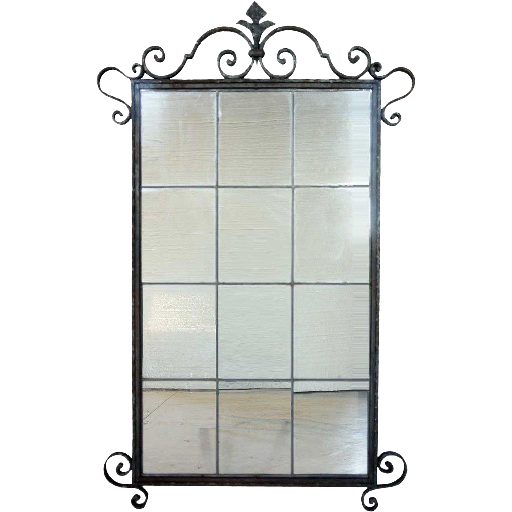 French Painted Fer Forge/Wrought Iron Leaded Glass Mirror