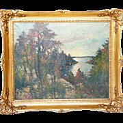 FRANS GARD Oil on Canvas Painting, Swedish Coastal Landscape
