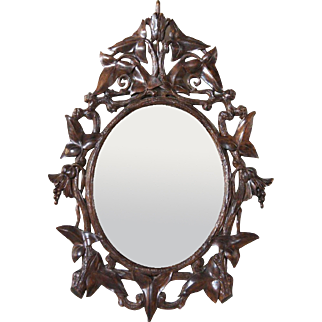 German Black Forest Walnut Oval Mirror Frame