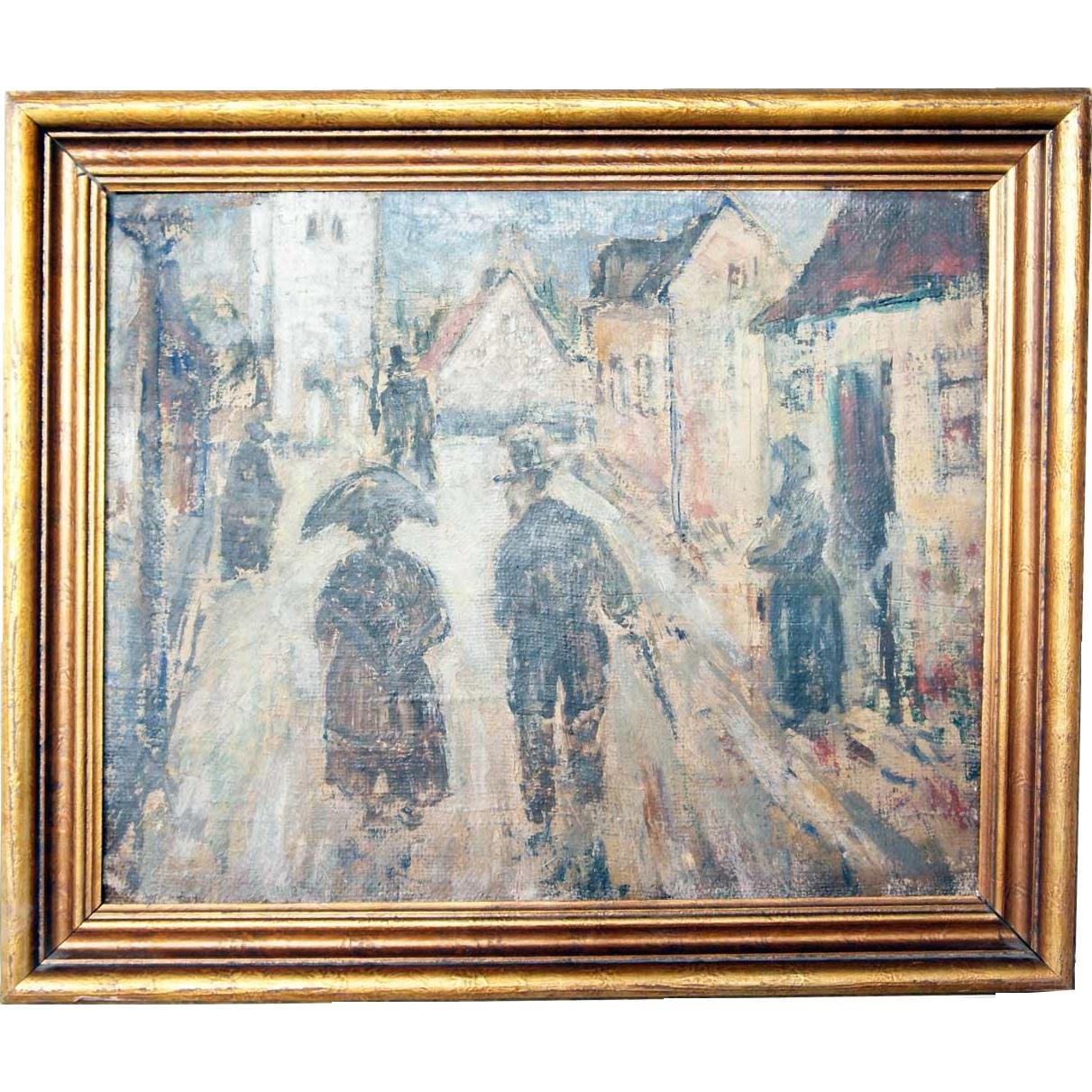 EMIEL HANSEN Oil on Canvas on Board Painting, Afternoon Walk