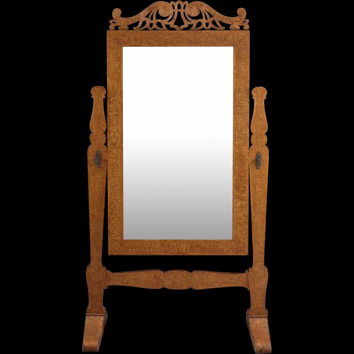 French Pollard Elm Cheval Floor Mirror