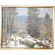 Oil on Canvas Painting, Winter Mountain Landscape