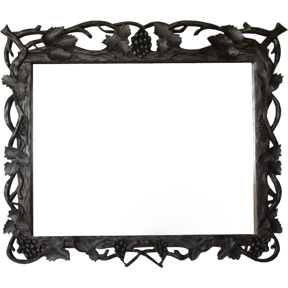 German Black Forest Walnut Framed Mirror