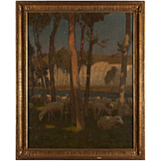 CHARLES WILLIAM BARTLETT Oil Painting on Canvas, Sheep Grazing Near Chalk Cliffs