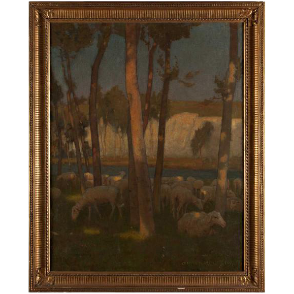 CHARLES WILLIAM BARTLETT, Oil Painting on Canvas, Sheep Grazing Near Chalk Cliffs
