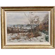 JAN VAN CAMPENHOUT Oil on Panel Painting, Winter Landscape